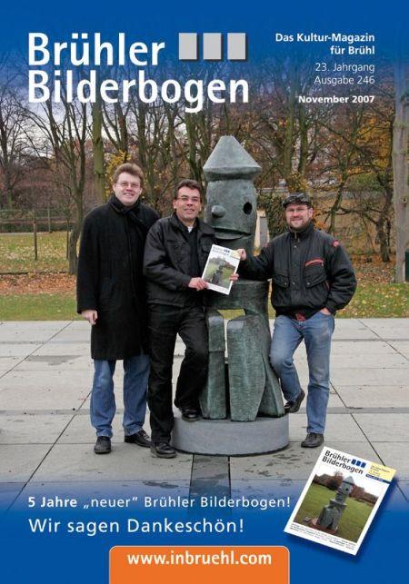 Die Titelseite des Brühler Bilderbogen zeigt die Macher des neuen BBB im November 2007 vor dem Max Ernst Musem